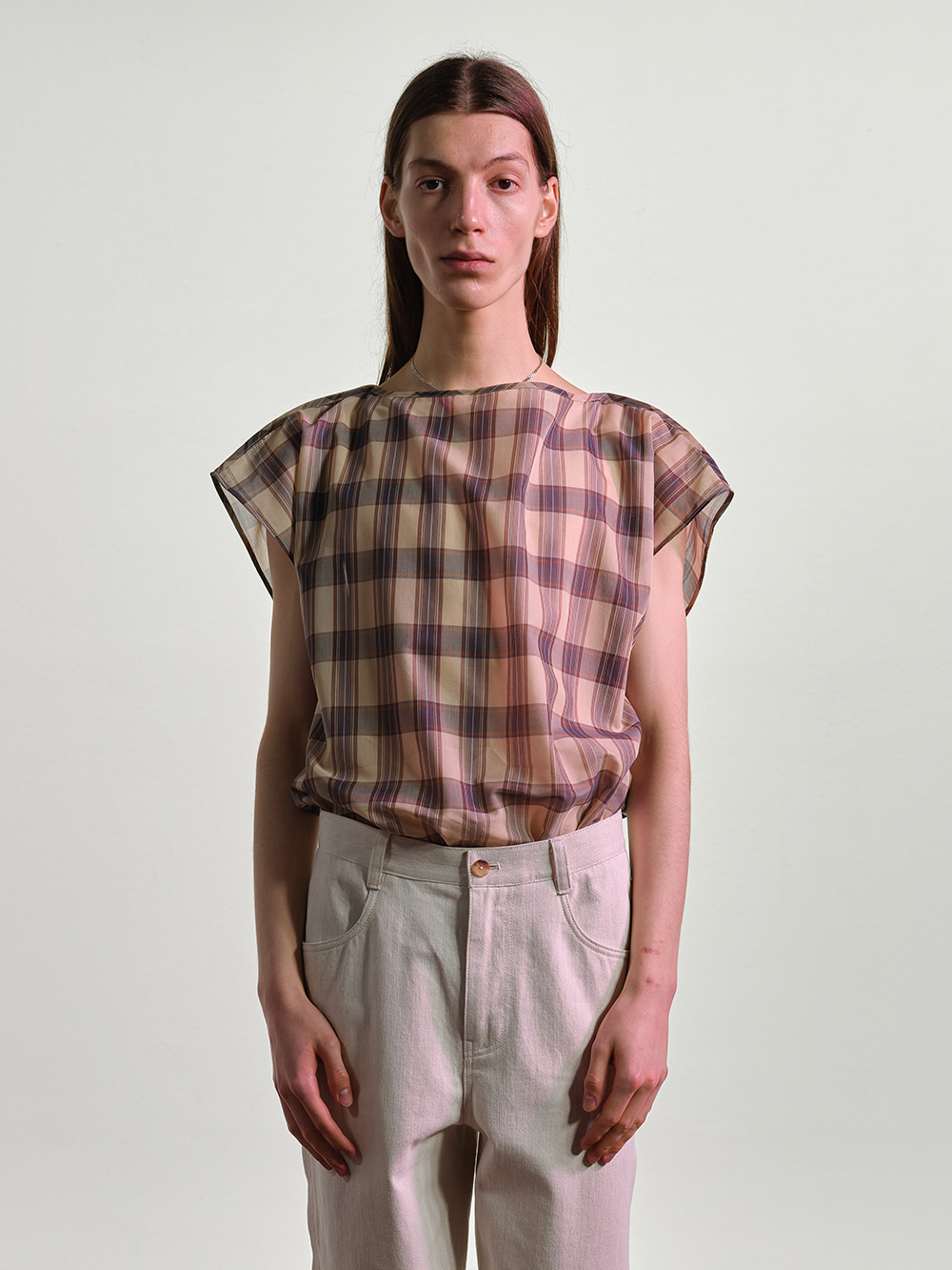 CHECKERED BOAT NECK TOP