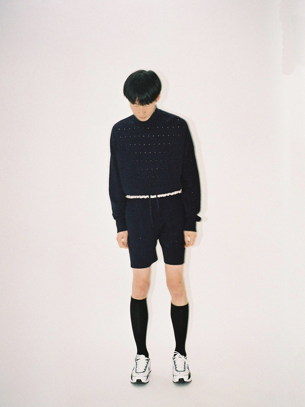 PUNCHED 1/2 KNIT PANTS NAVY