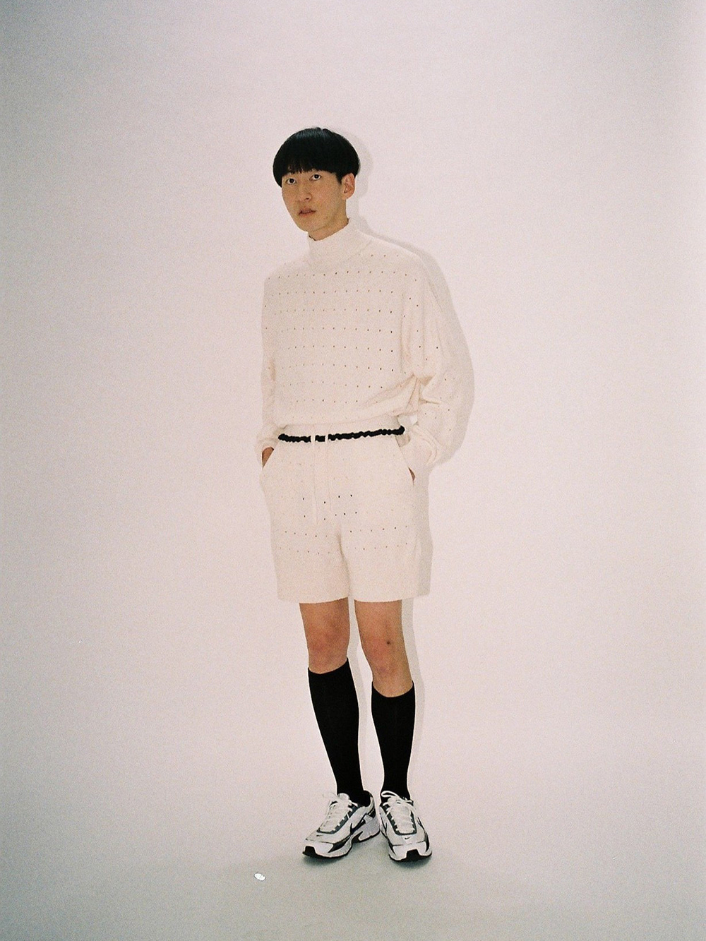 PUNCHED 1/2 KNIT PANTS IVORY